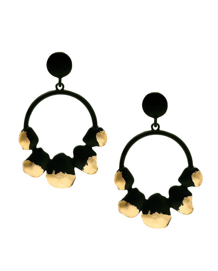 Ren Black Drop Two-toned Uneven Earrings with 18K Gold