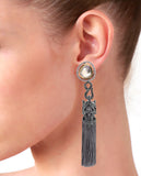 Grey Tasseled Dangling Earrings in 18K Gold and Hematite with Glass Kundan and Swarovski Crystals