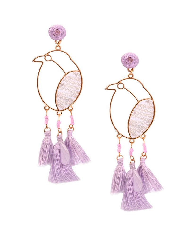 Coco Bird Purple Tassel Earrings in 18K Gold