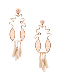 Tropical Bird Pink Tassel Earrings in 18K Gold