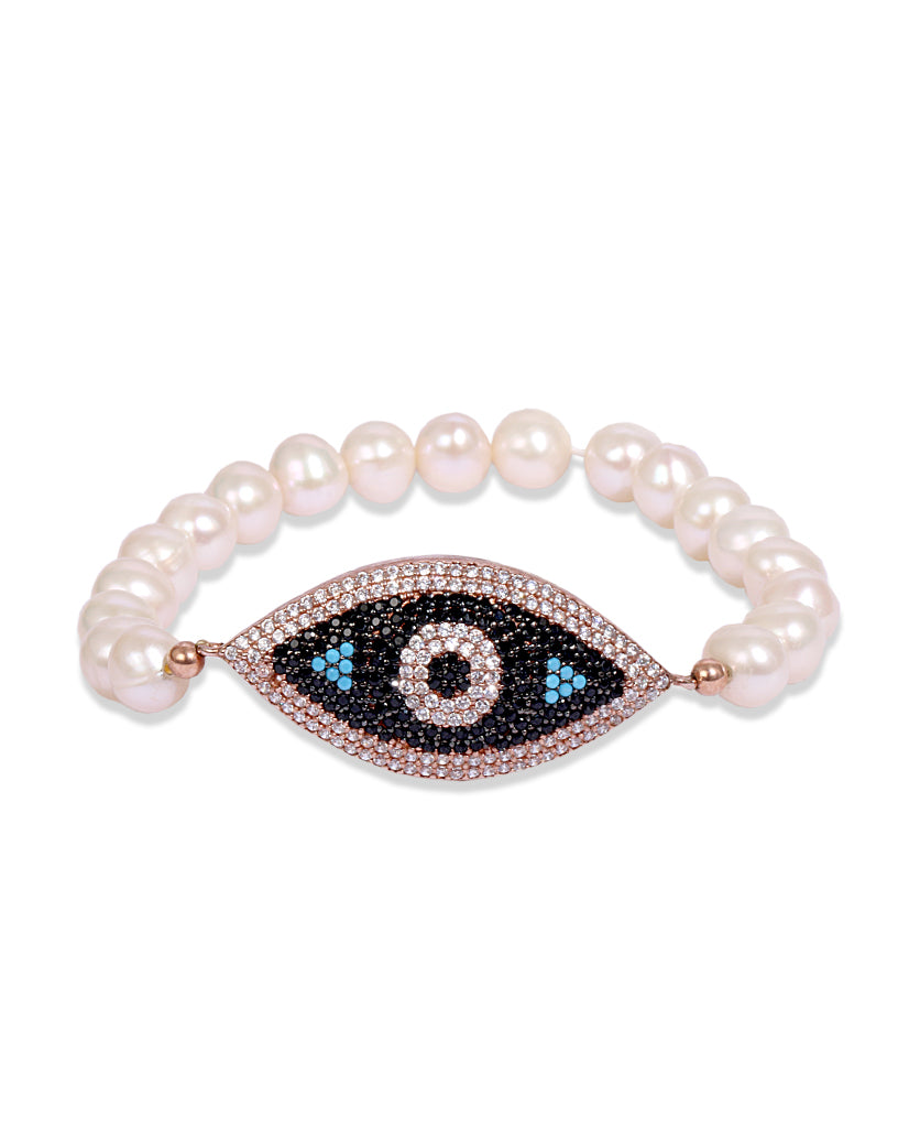 Silver Evil Eye Bracelet with Pearls and Swarovski Crystals