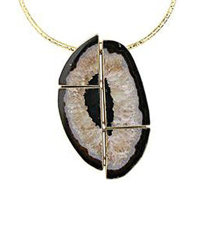 18K Gold Geode Cut Onyx Quartz Collar Necklace