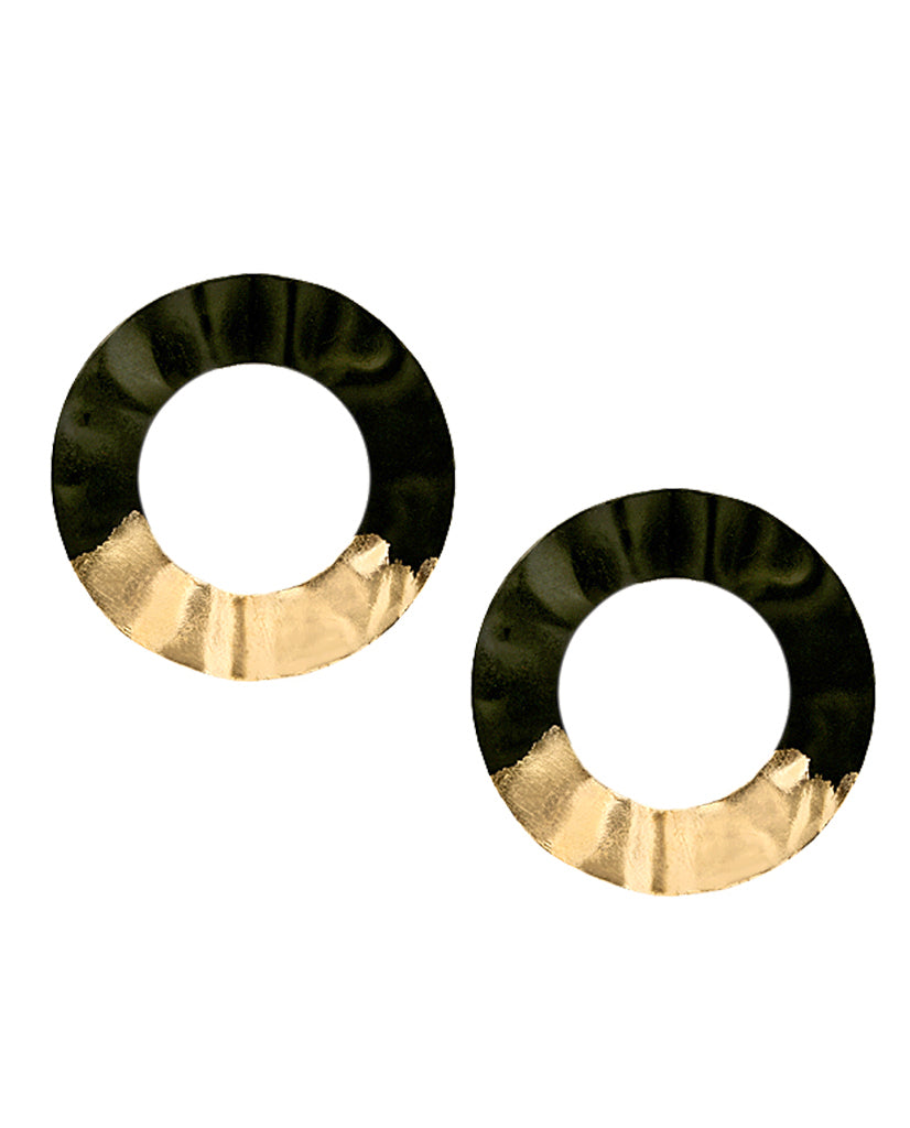 Emiko Black Hoop Earrings with 18K Gold