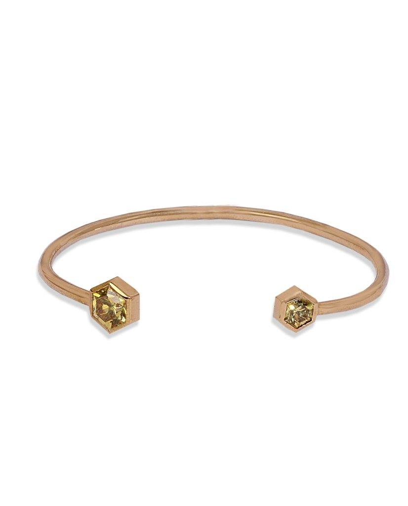 18K Gold and Citrine Stone Hexagonal Bracelet