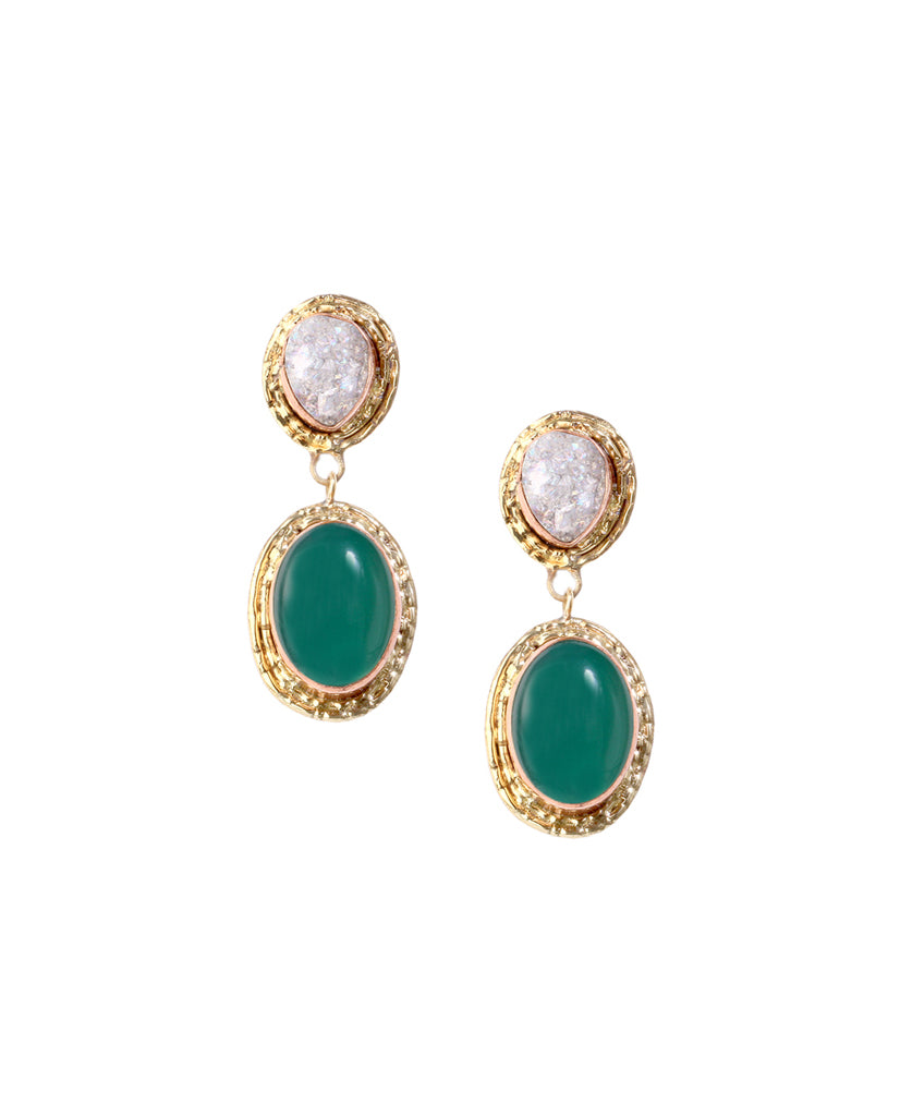 Samantha Drop Earrings in Green Agate Stone White Druzy and 18K Gold
