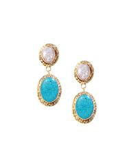 Samantha Drop Earrings In Turquoise Agate Stone White Druzy And 18K Gold
