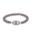 Evil Eye Steel Grey Beaded Bracelet with Swarovski Crystals
