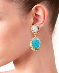 Woman wearing Samantha Drop Earrings In Turquoise Agate Stone White Druzy And 18K Gold