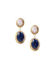Samantha Drop Earrings In Blue Agate Stone White Druzy And 18K Gold