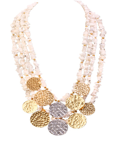 Dual Silver Centered Coin Necklace with 18K Gold and Fresh Water Pearls