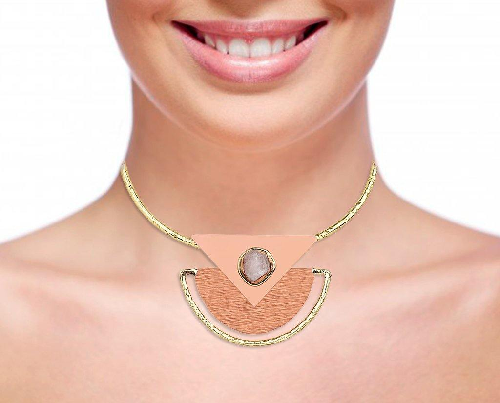 Aztec Detachable Collar Necklace in 18K Gold and Agate Stone