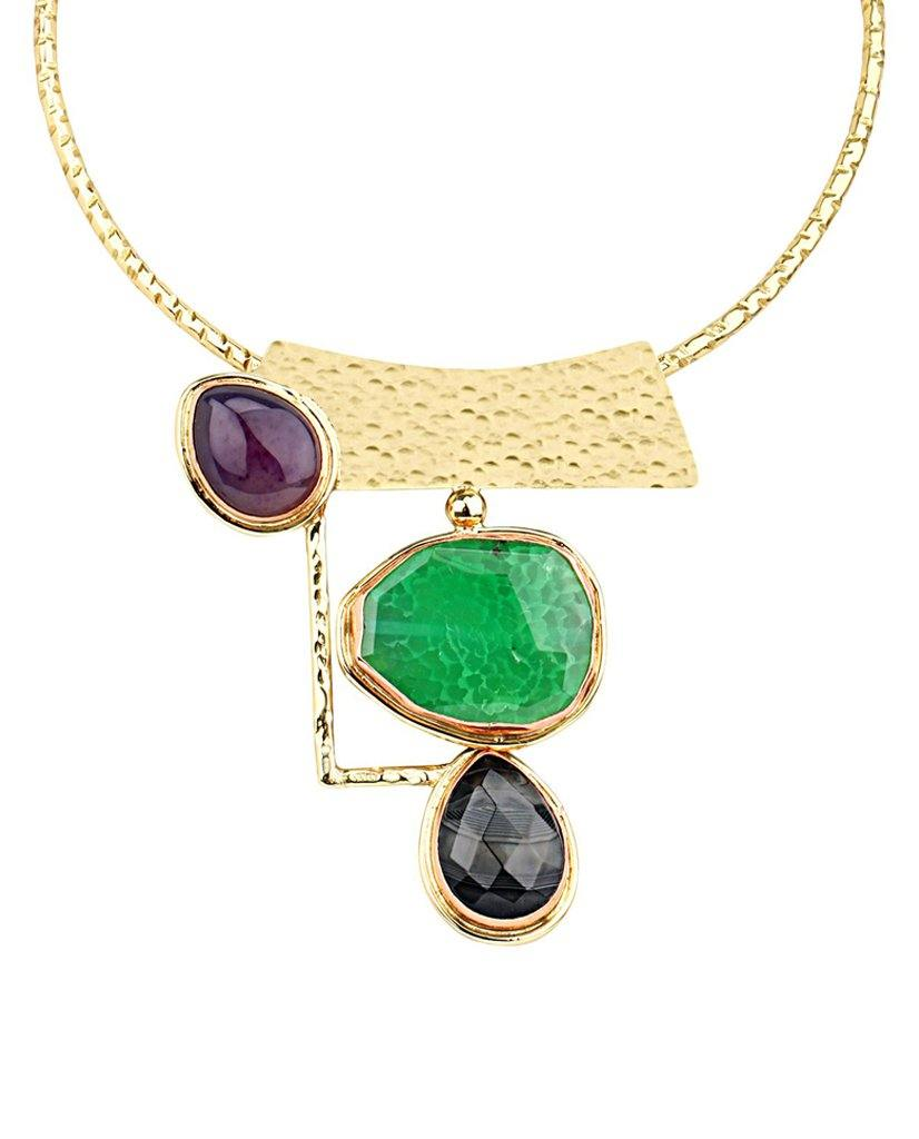 18K Gold Plated Ivana Collar Necklace with Ruby Quartz and Emerald Quartz