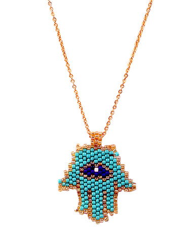 Blue Beaded Mini Hamsa Necklace in 18K Gold and Swarovski Crystals