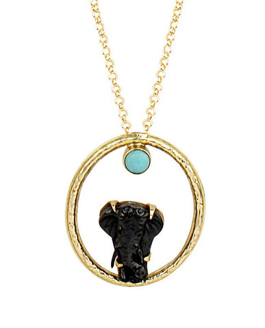 Safari Elephant Round Necklace with Blue Turquoise in 18K Gold
