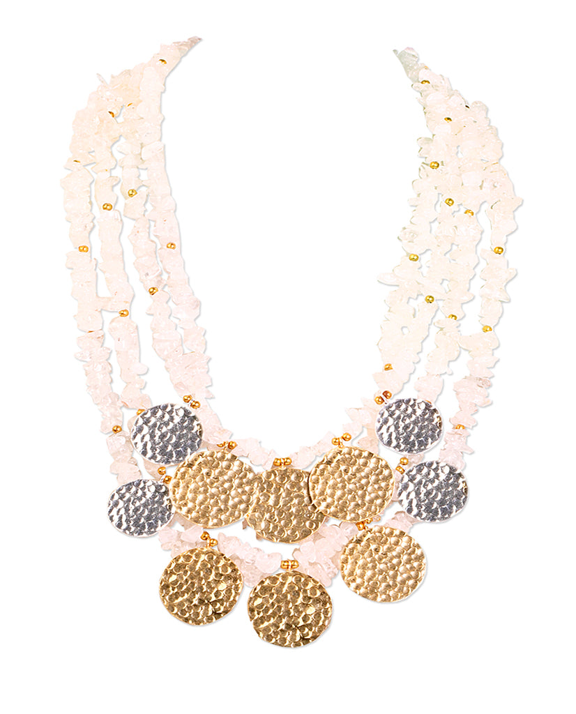 Symmetric Gold and Silver Coin Necklace with 18K Gold and Fresh Water Pearls