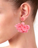 Watermelon Pink Flower Drop Earrings in 18K Gold