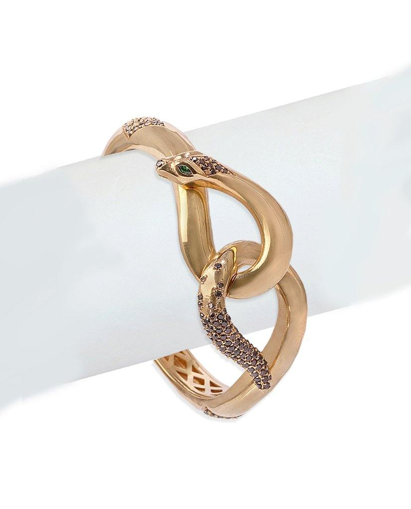 18K Gold and Swarovski Crystal Intertwined Snake Cuff