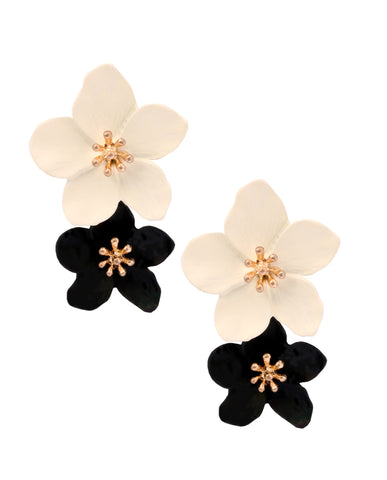 Two Toned Black-n-White Earrings in 18K Gold
