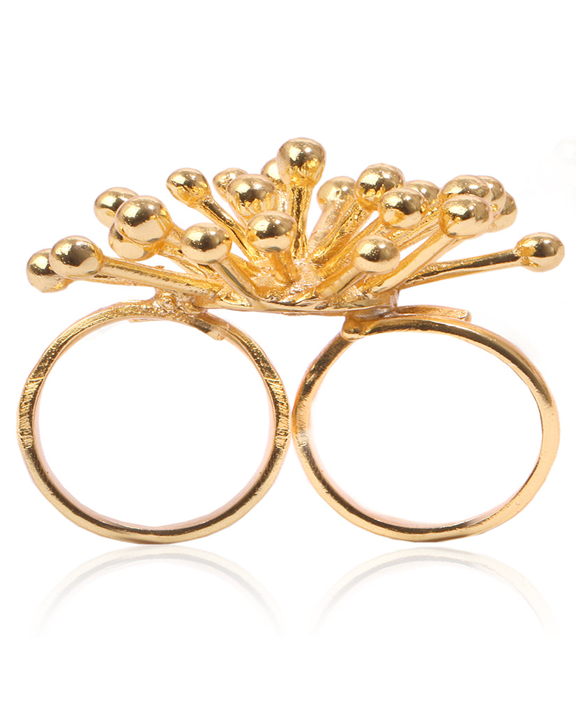 Starburst Double Finger Ring in 18K Gold