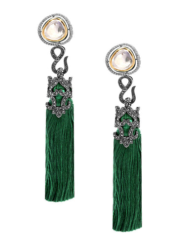 Green Tasseled Dangling Earrings in 18K Gold and Hematite with Glass Kundan and Swarovski Crystals