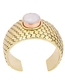 Samantha Basketweave Oyster Shell Mop Cuff - BANSRI                                                                 Jewelry Lounge
