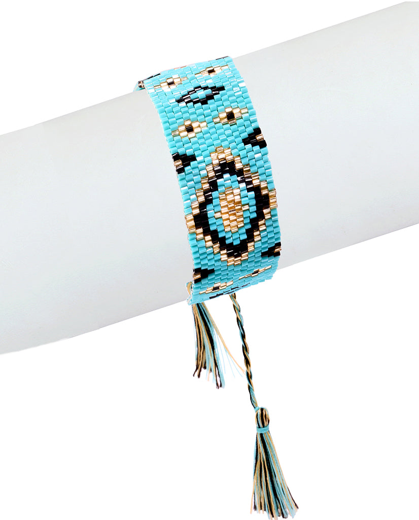 Turquoise and Gold Beaded Bracelet in 18K Gold and Swarovski Crystals