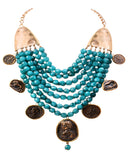 Gold finish turquoise beads coin necklace