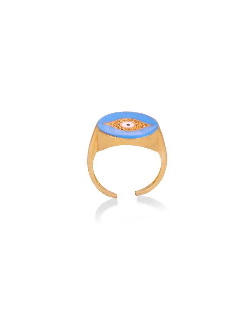Third Eye Enamel Ring in Light Blue and Gold with Swarovski Crystals