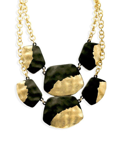 Akeno Double Layered Uber Black Necklace with 18K Gold