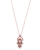 White Hamsa Necklace with Rose Gold Plating and Swarovski Crystals