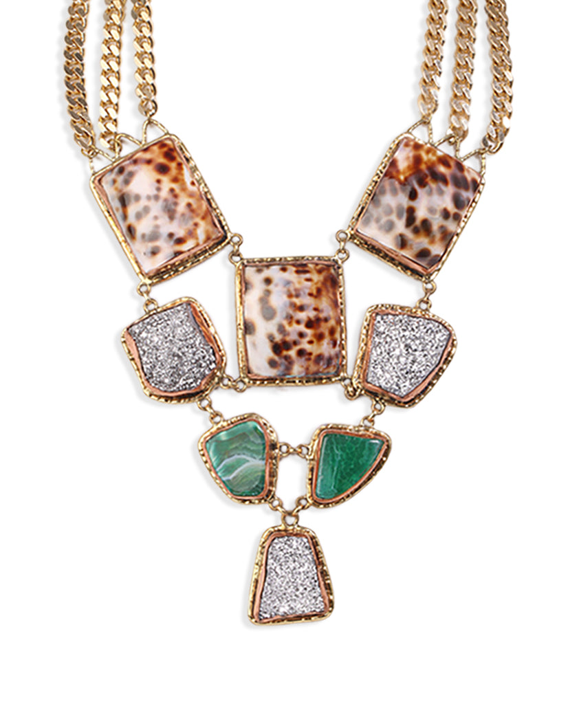 Samantha Symmetric Leopard Necklace with Agate Stones and 18K Gold