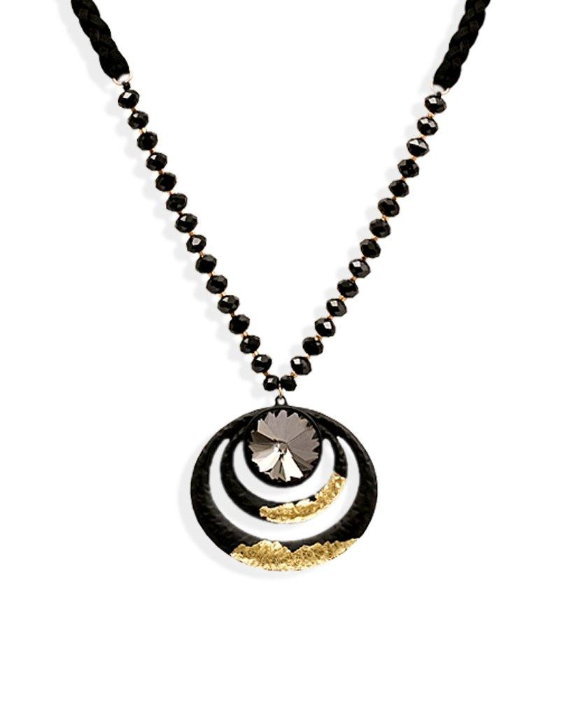Akali Beaded Black Concentric Multi-Ring Necklace with 18K Gold