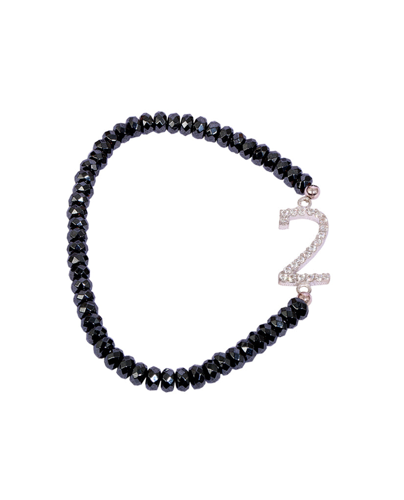 Numerology 2 Bracelet with 925 Sterling Silver with Hematite Beads and Swarovski Crystals