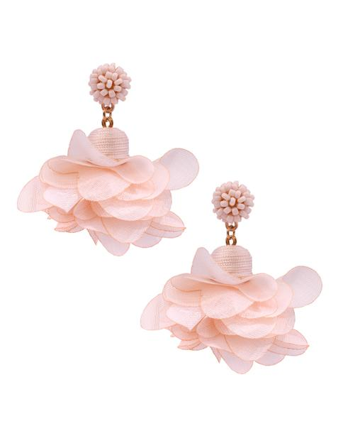 7ad10a11a500e Soft Pink Flower Drop Earrings in 18K Gold