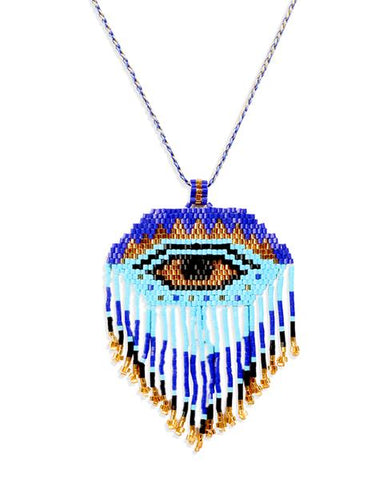 Blue Beaded Egyptian Eye Necklace with Swarovski Crystals