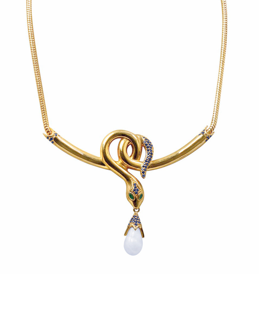 Twirled Snake Mother of Pearl Necklace in 18K Gold and Swarovski Crystals