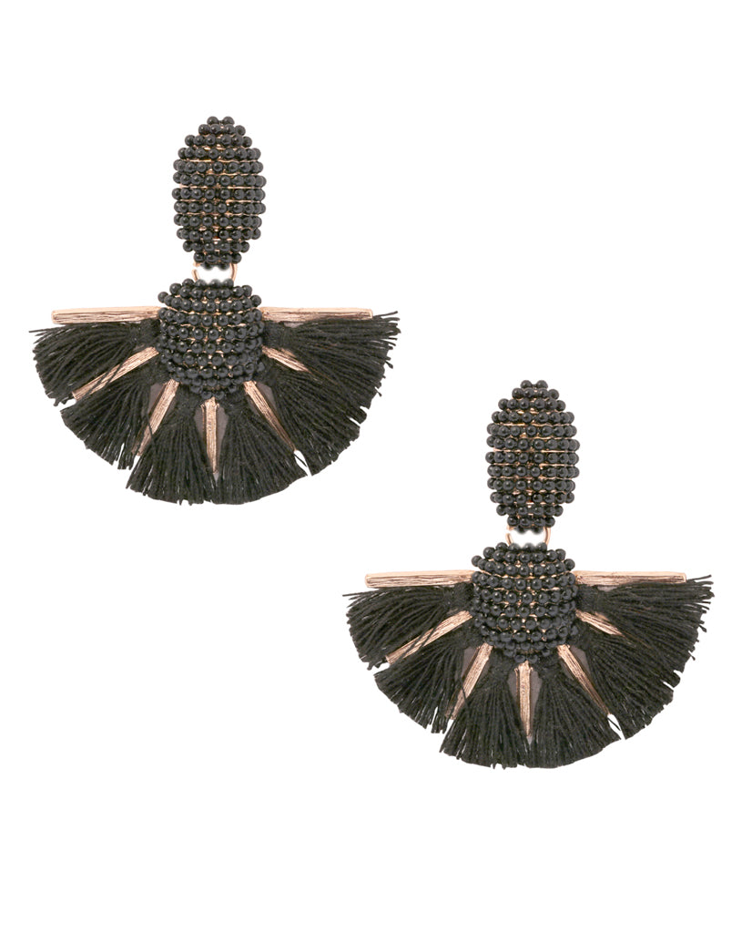 Emily Beaded Tassel Earrings - BANSRI                                                                 Jewelry Lounge