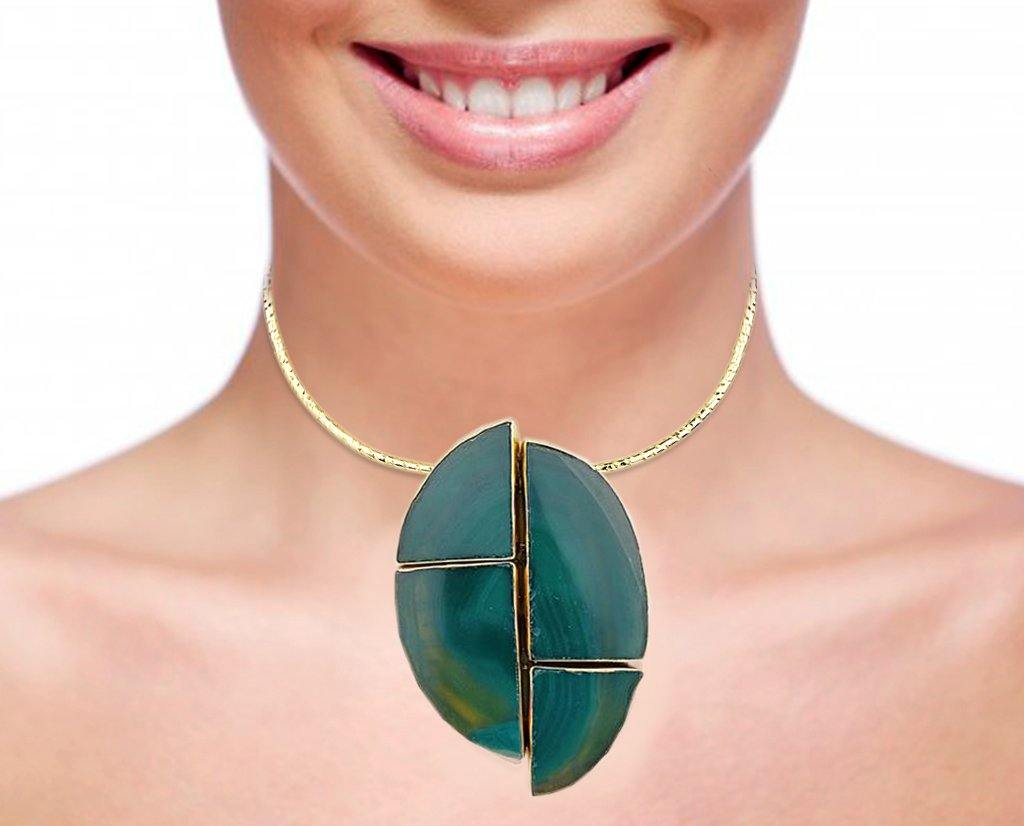 18K Gold Plated Geode Cut Emerald Quartz Collar Necklace