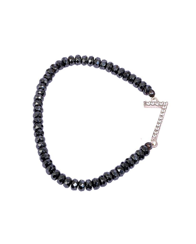 Numerology 7 Bracelet with 925 Sterling Silver with Hematite Beads and Swarovski Crystals