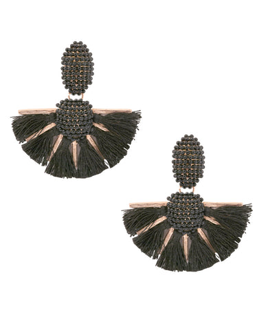 Emily Beaded Black Tassel Fan Earrings in 18K Gold