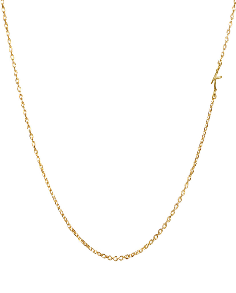 Initial K Necklace with 18K Gold Plating