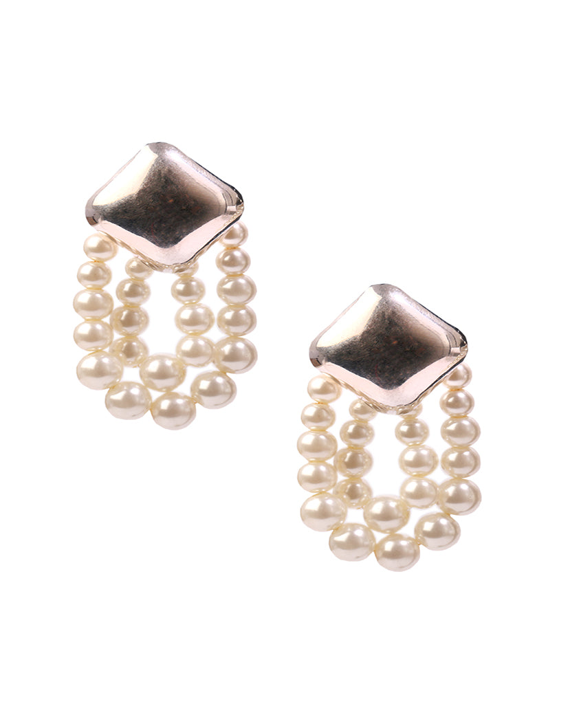 Rhodium finish pearl earrings