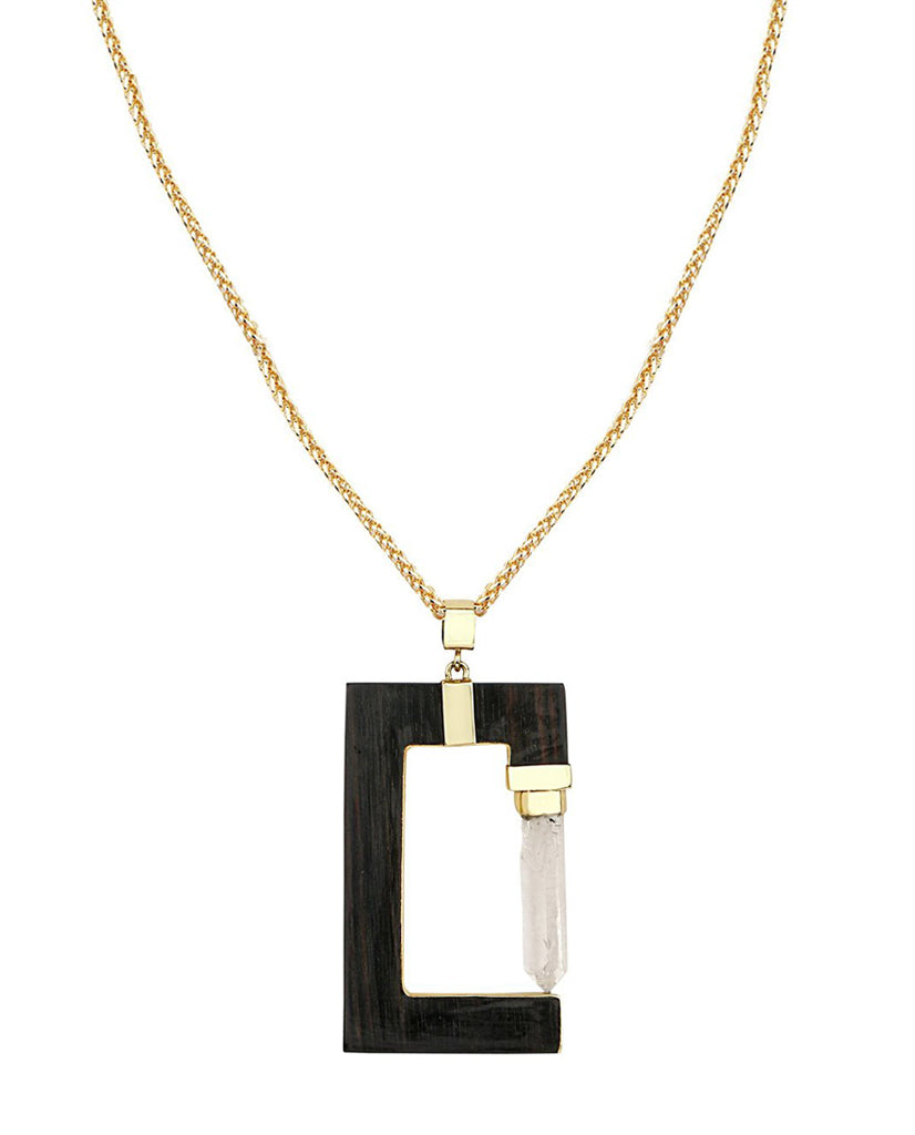 Shaleena Ebony Wood Rectangular Necklace in 18K Gold