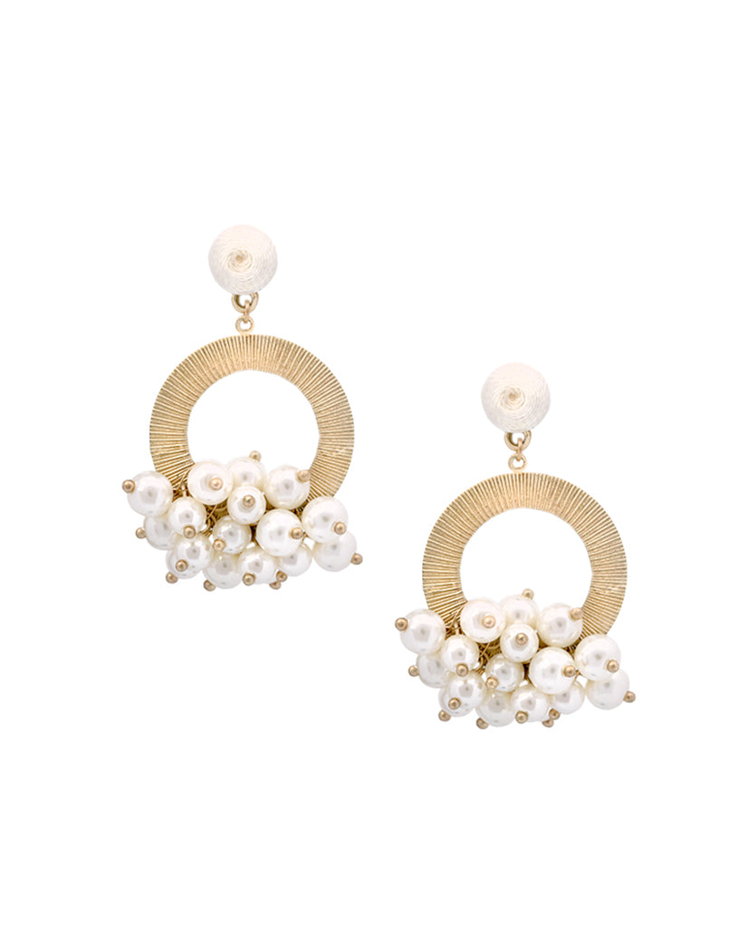 Gold finish pearl round earrings