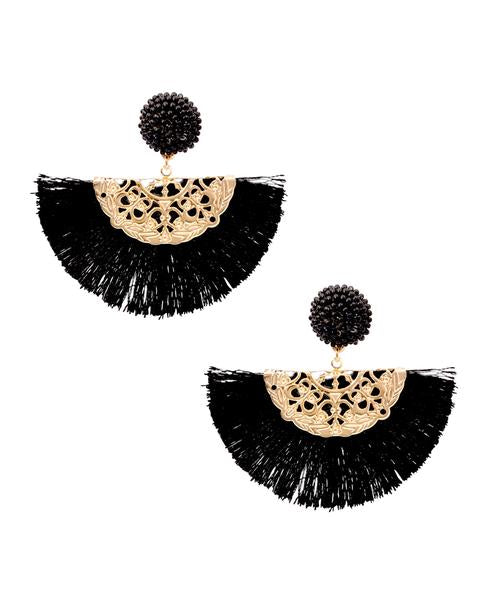 Dahlia Black Tassel Fan Earrings in 18K Gold