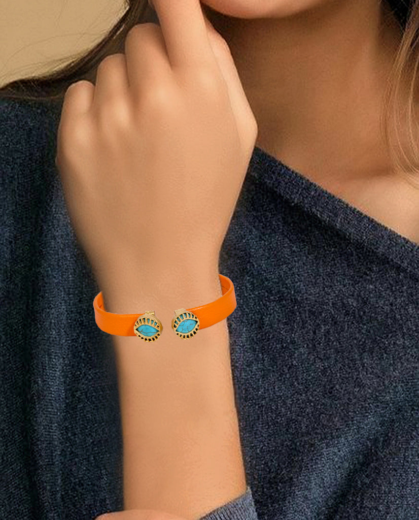 Dual Turquoise in an Orange Leather Bracelet