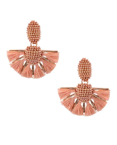 Emily Peach Tassel Beaded Earrings in 18K Gold
