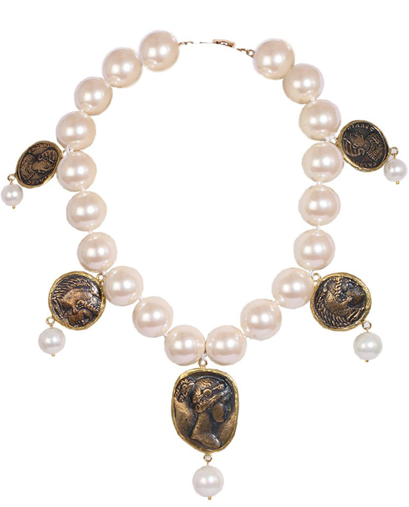 Pearl And Coin Necklace