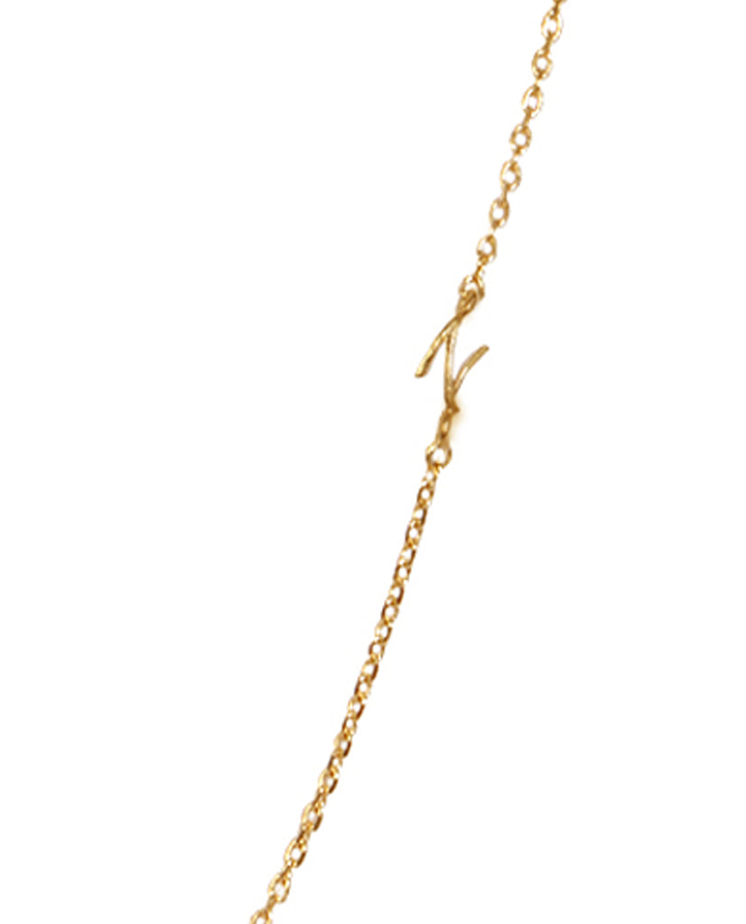 Initial N Necklace with 18K Gold Plating
