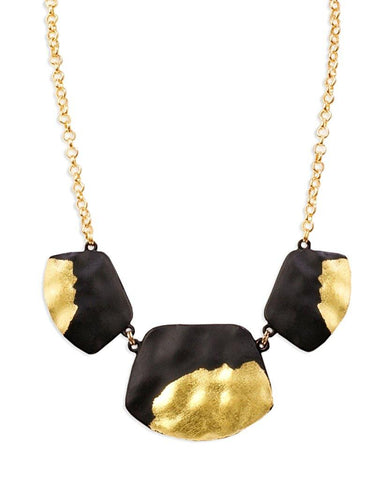 Akron Single Layer Black Trapezoid Necklace with 18K Gold